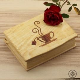 Dřevěná krabička na čaj Tora - světlý šálek