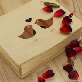 Dřevěná krabička na čaj Tora - ptáčci