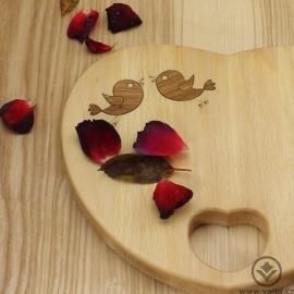 Kuchyňské prkénko SRDCE - Láska prochází žaludkem - ptáčci