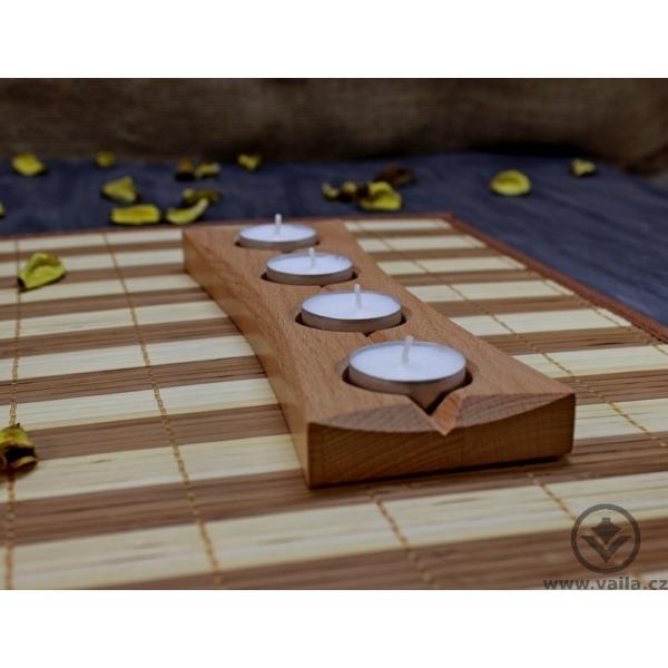 Dřevěný adventní svícen - obdélník