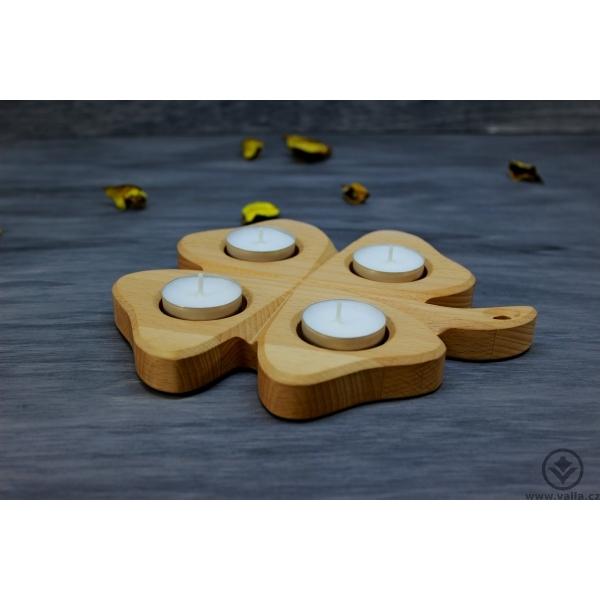 Dřevěný adventní svícen - Čtyřlístek